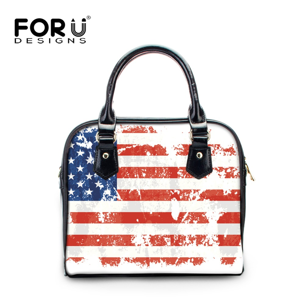 FORUDESIGNS Small Women PU Leather Crossbody Bags UK USA Flag Printing Woman Tote Shoulder Bag Ladies Casual Satchel Handbags women shoulder bags leather handbags shell crossbody bag brand design small single messenger bolsa tote sweet fashion style
