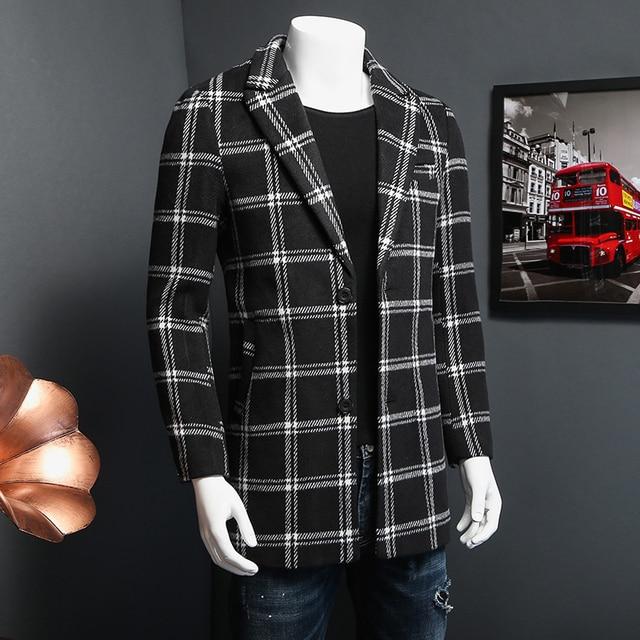 M-5XL mens overcoat long trench coat men 2016 autumn  plaid casaco trench coat masculino TD81