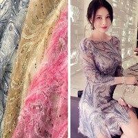 High Grade Diamond Net Bottom Fabric Bright Beads Beads Lace Yarn Embroidery Clothing Apparel Fabrics Wedding