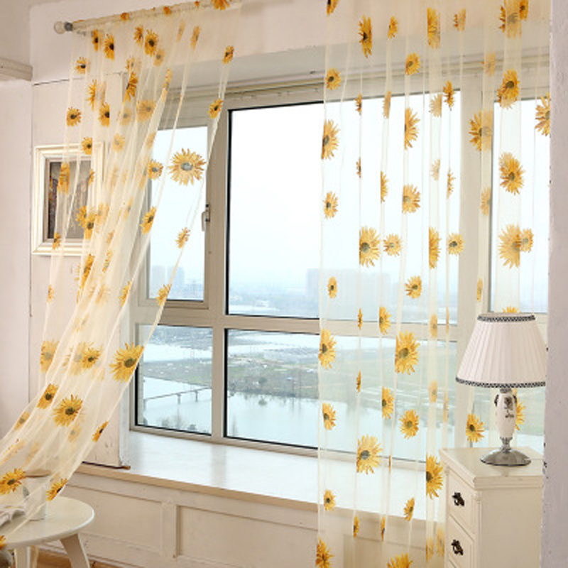 Pastoral Style Ultra Thin Sunflower Printed Transparent Decoration Sheer Tulle For Living Room Bedroom Kitchen Wp187