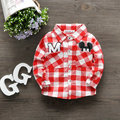 Spring Baby Turn-down Collar Long-sleeve shirt Male Female Child Pullover Bottoming Shirt Infant Cotton Cartoon Plaid shirt