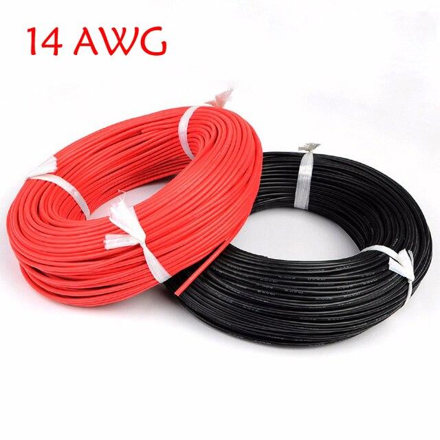 5 Meter Red + 5 Meter Nero Filo di Silicone 14AWG Resistente Al Calore Molle Del Silicone Gel di Silice Filo Elettrico Cavo di Connessione per rc Modello di Batteria