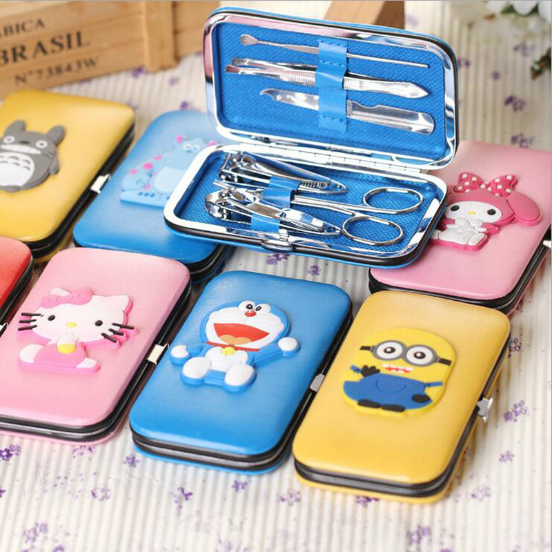 Cute Cartoon Pattern Bathroom 6Pcs Sets Pratical Portable for Travel Tools Multifunction Household Bath Accessories XHH05377