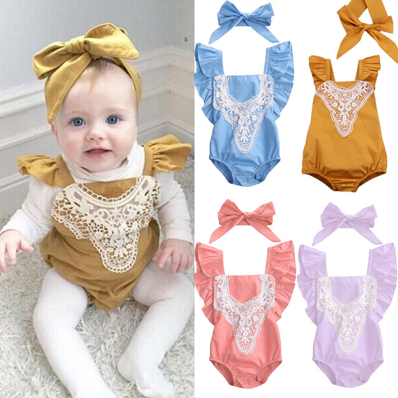 Newborn Toddler Infant Baby Girl Lace Romper Sleeveless Cotton Jumpsuit Sunsuit One-Pieces Outfits Clothes newborn infant baby girl clothes strap lace floral romper jumpsuit outfit summer cotton backless one pieces outfit baby onesie