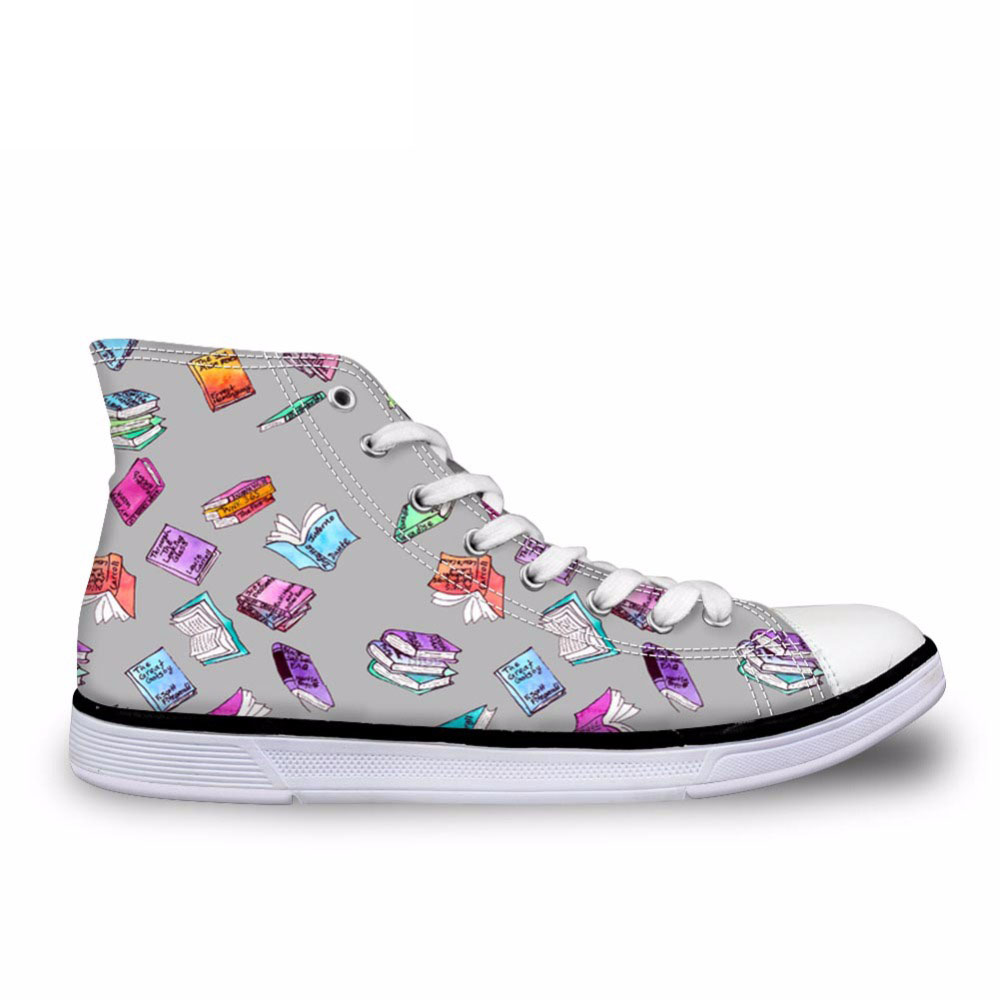 Watercolor Books Shoes For Men Classic Walking Canvas Shoes Mens High Tops Sneakers Grey Shoes For Teens Boys New