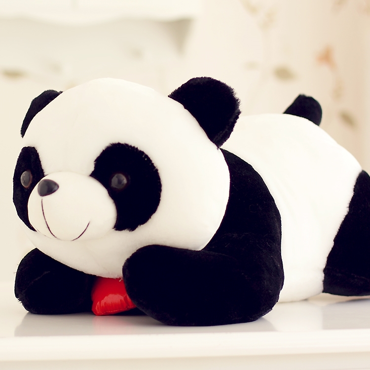 stuffed animal lovely lying panda about 90cm heart  i love you  prone panda plush toy soft doll gift s8003 stuffed animal 90 cm plush dolphin toy doll pink or blue colour great gift free shipping w166