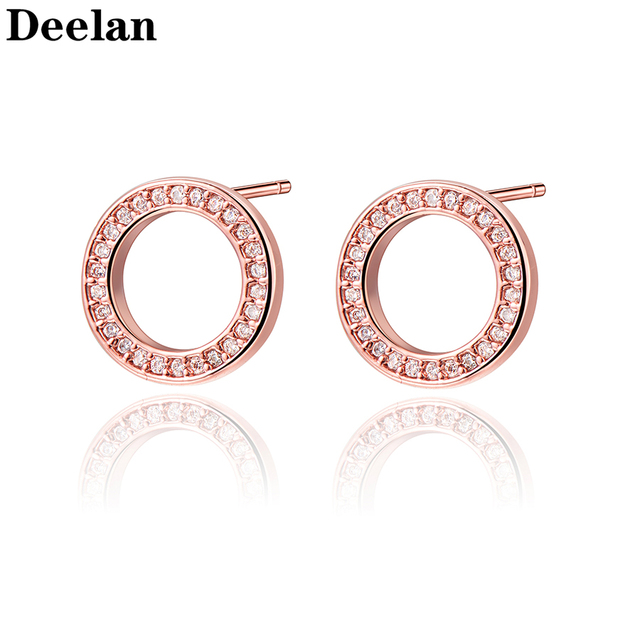DEELAN Summer Stud Earrings For Women Lucky Round Word Jewelry Female Crystal Rose Gold Minimalist Earring Girl Fasion Jewellery
