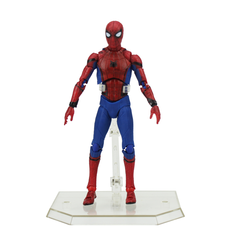 Free Shipping 6 Super Hero Spiderman Spider-man Moveable Homecoming MAF047 Boxed 15cm PVC Action Figure Model Doll Toys Gift new hot 10cm spider man avengers super hero action figure toys spiderman doll christmas gift with box