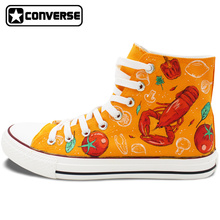 Hand Painted Shoes Men Women Converse All Star Design Western-style Food Lobster Tomato Pimento Broccoli Canvas Sneakers