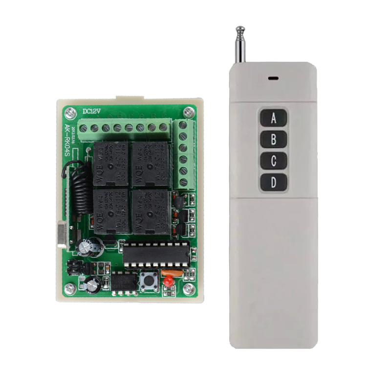 DC 12V 4CH Relay Receiver Transmitter RF Remote Control Switch Wireless Controller 315/433 Long Range Remote Switch 100-1000m new dc 12v 10a 4ch rf wireless relay remote control switch 315mhz 433mhz transmitter