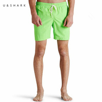 Solid Green Beach Shorts Homme Quick Dry Polyester Beachwear Men Fitness Training Gym Clothing Summer Hawaiian