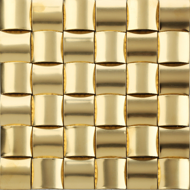 11pcs Gold Metal Mosaic Tile Kitchen Backsplash Bathroom Background Decorative  Wall Fireplace Bar Wall Tiles