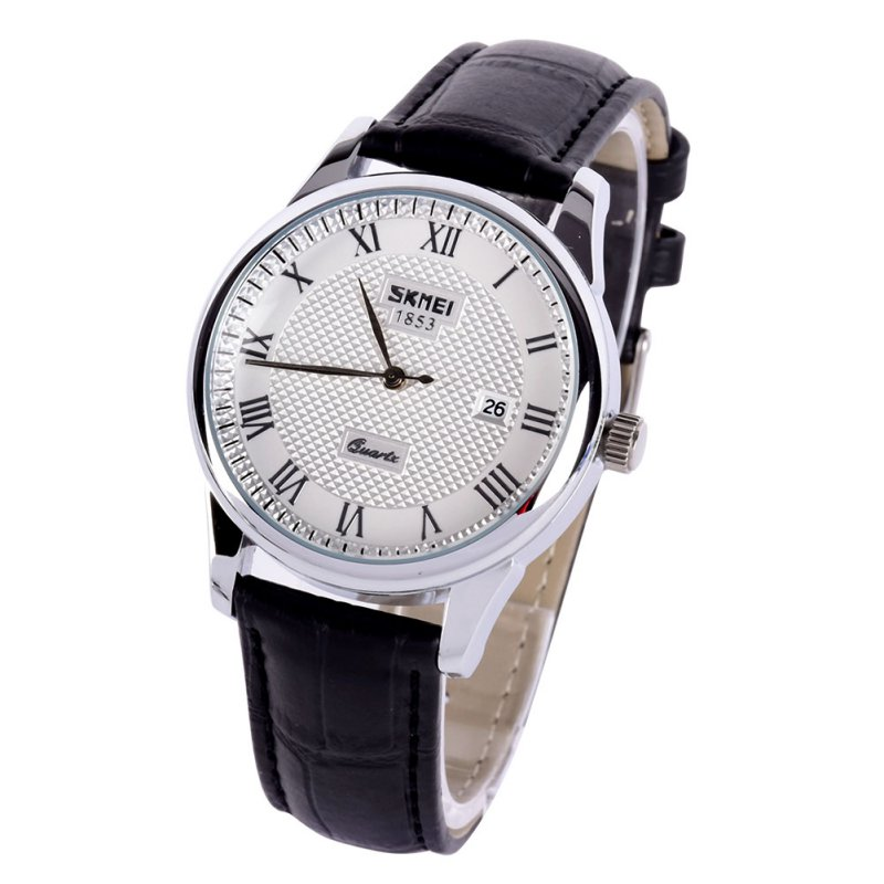 Women Dress Watches Fashion Lovers Couple Watches Date Leather Strap Quartz Wristwatch Display Watches