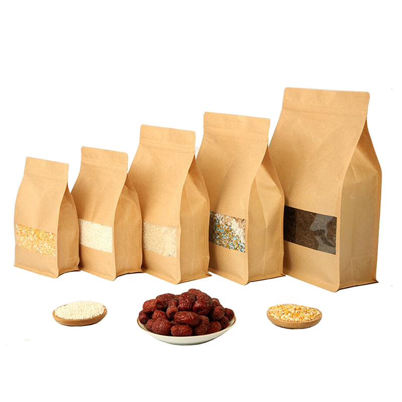 50 Pcs Big Capability Stand Up Kraft Paper Food Packaging
