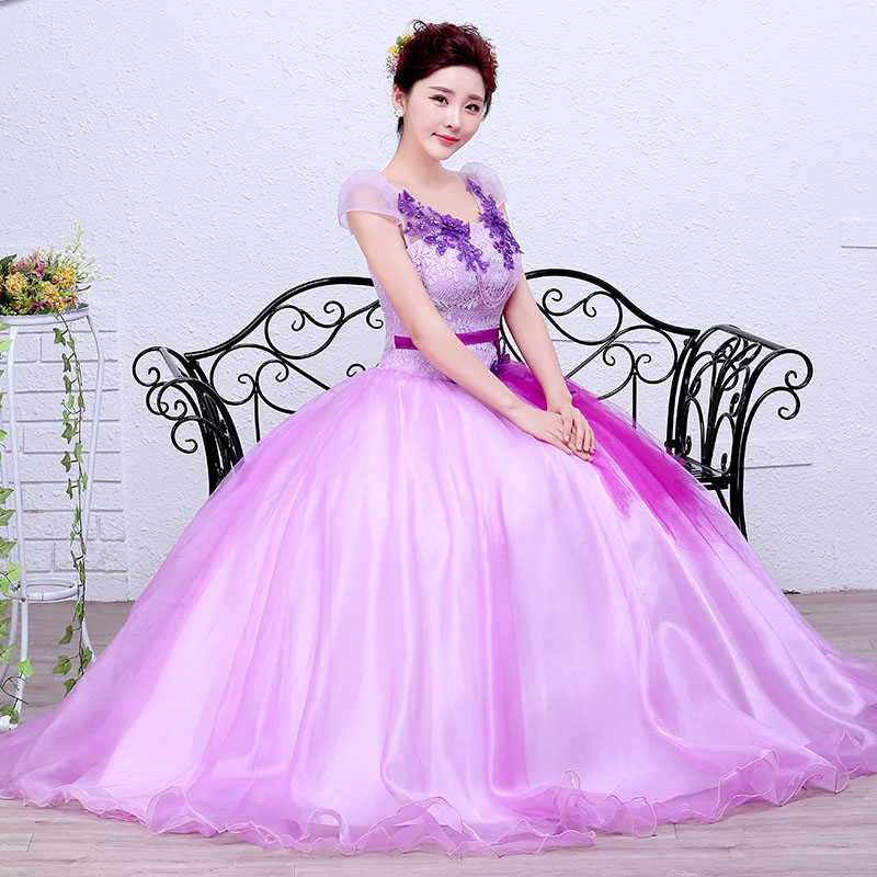 2017 Popular Purple Cap Sleeve Embrodery Stain and Organza Lace Up Quinceanera Dresses Vestido De Debutante Para 15 Anos