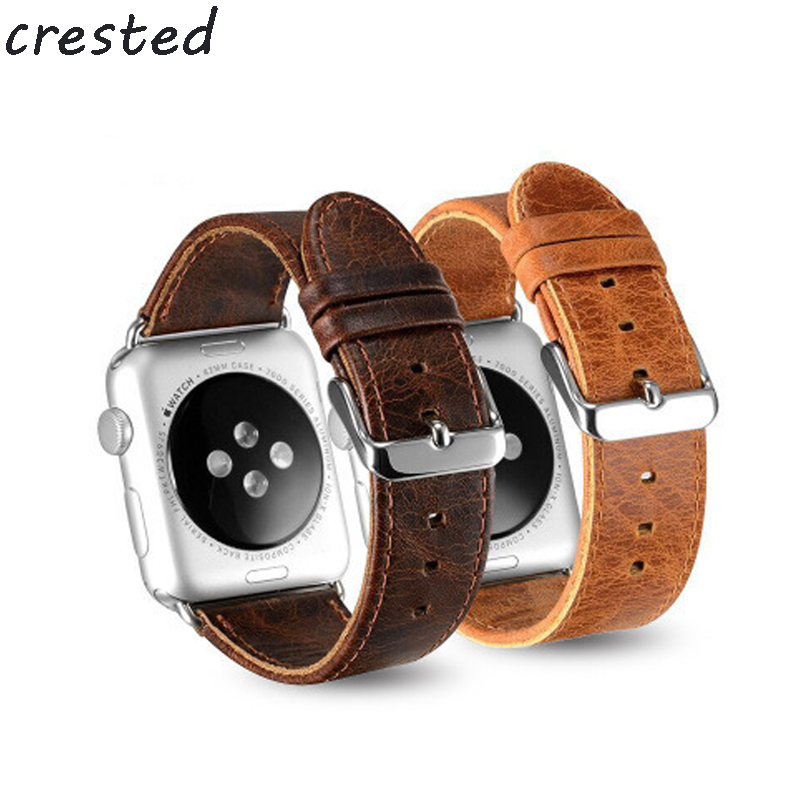 купить CRESTED genuine leather watchband for apple watch band 42mm/38 leather strap + classic metal clasp watch band for iwatch 1/2/3 по цене 481.72 рублей