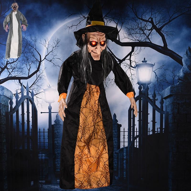 Grande Taille Commande Vocale Sorcière Prop Creepy Effrayant Halloween Party Décoration Pendaison Électrique Fantôme Squelette Halloween Horror Props