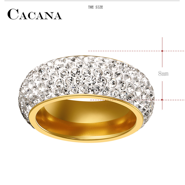 CACANA Titanium Stainless Steel Rings For Women  Cubic Zirconia Wedding Ring Fashion Jewelry Wholesale NO.R192 193
