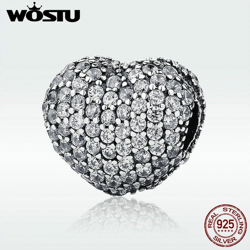 WOSTU Luxury 925 Sterling Silver Sparkling Heart Clip Charm Fit Original WST Beads Bracelet DIY Fine Jewelry DYC108