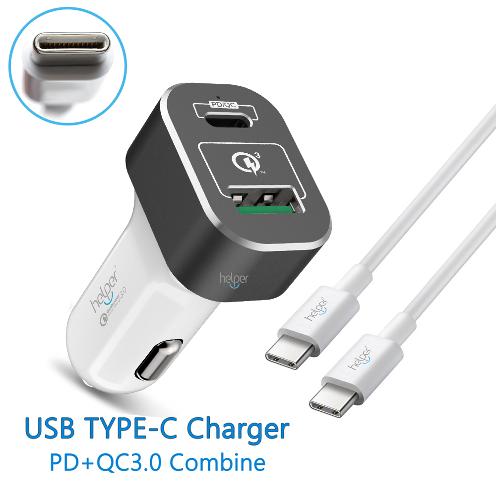 PD USB-C QC3.0 Car Charger of Aluminum Alloy Ring and Smart IC Core, Type C Power Delivery 20V 2.25A