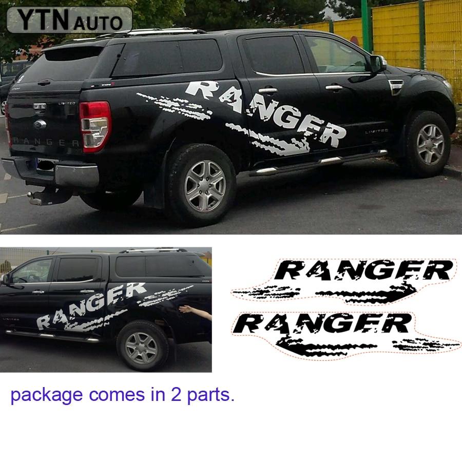 Autocollants de voiture 2pc porte latérale mudslinger vinyls graphiques sales, accessoires de travail, décalques modifiés, personnalisé pour FORD RANGER 2010