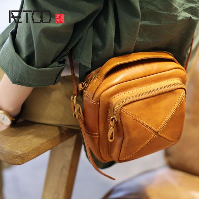 AETOO Original autumn on the new small bag handmade cowhide handbag retro stitching small square bag literary shoulder Messenger