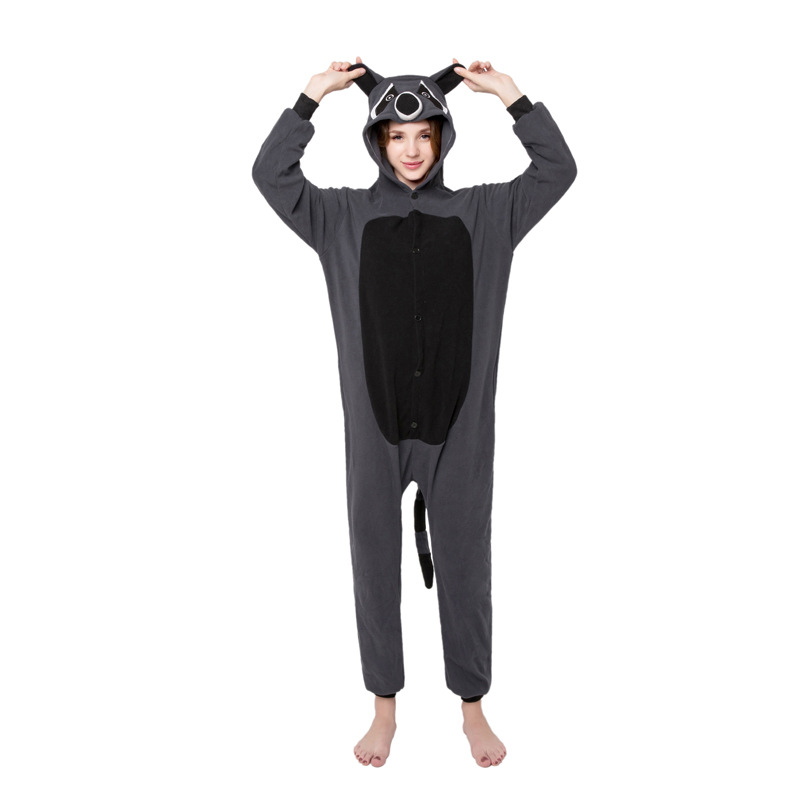 Grey raccoon Kigurumi Onesies Cosplay Lilo Stitch Costumes 2019 women Hooded animal cartoon pajamas sloth Kigurumi Jumpsuits