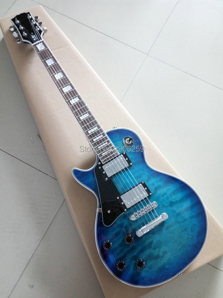Custom Shop eclusive left handed lp custom electric guitar water flame maple cover rosewood Fingerboard chrome hardware custom shop mirror finish lp guitar electric left handed china custom guitar free shipping