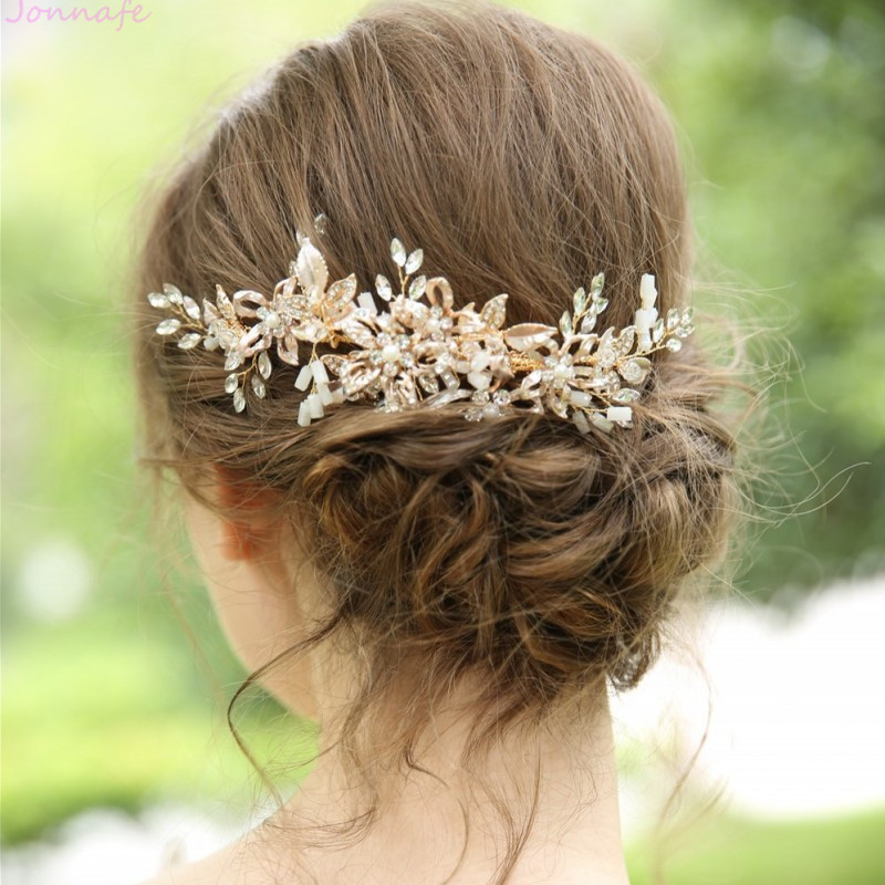 Jonnafe Gold Floral Leaf Hair Comb for Bridal  Women Headpiece Handmade Prom Party Wedding Hair Oranment Accessories-in Hair Jewelry from Jewelry & Accessories on Aliexpress.com | Alibaba Group