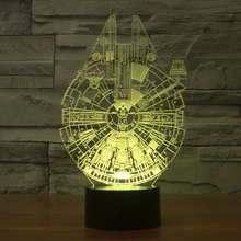 3D Illusion Led Night Light Millennium Falcon Star Wars Table Lamp with 7 Colors Glowing Light Atmosphere Decor Children Gift T