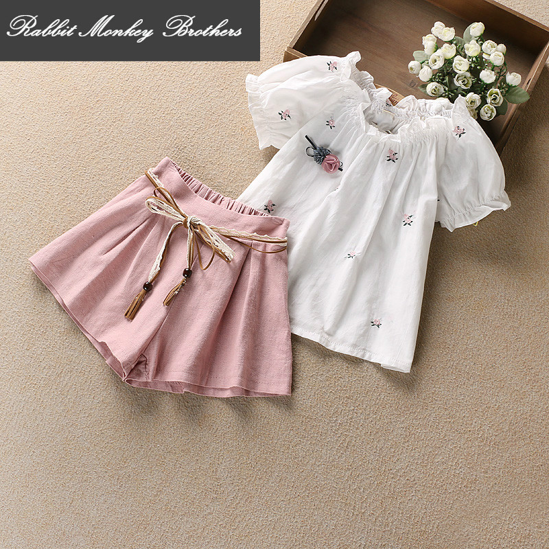 Kids girls clothes Summer set 2017 new children clothing casual Short sleeves shirt short Two pieces sets for girl 3-7 aged