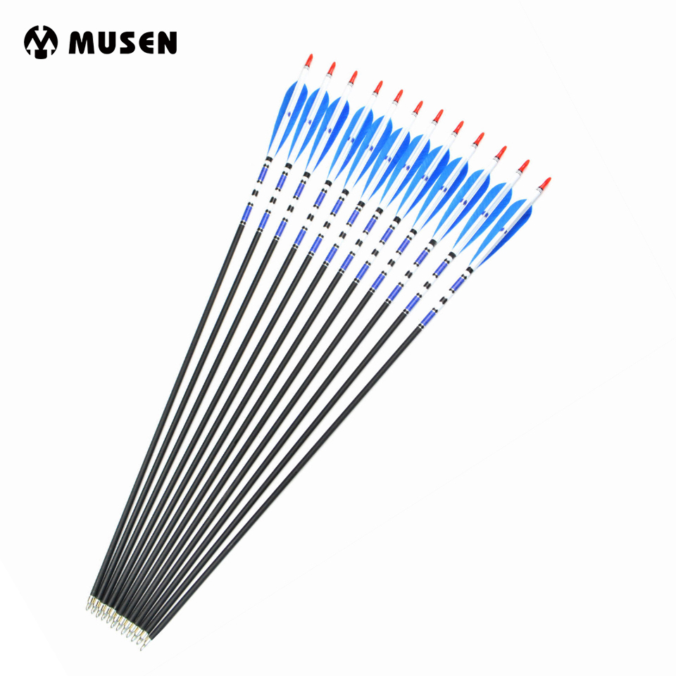US 6/12/24pcs Spine 500 Real Turkey Feather Archery Carbon Arrows Target Point Arrows OD7.6mm 31