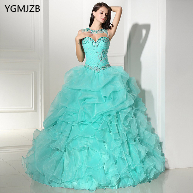 d189d09127f Mint Green Quinceanera Dresses with Jacket Sweetheart Beaded Ruffles  Vestidos De 15 Anos Ball Gown Debutante Gowns