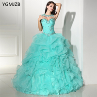 Mint Green Quinceanera Dresses With Jacket Sweetheart Beaded Ruffles Vestidos De 15 Anos Ball Gown Debutante