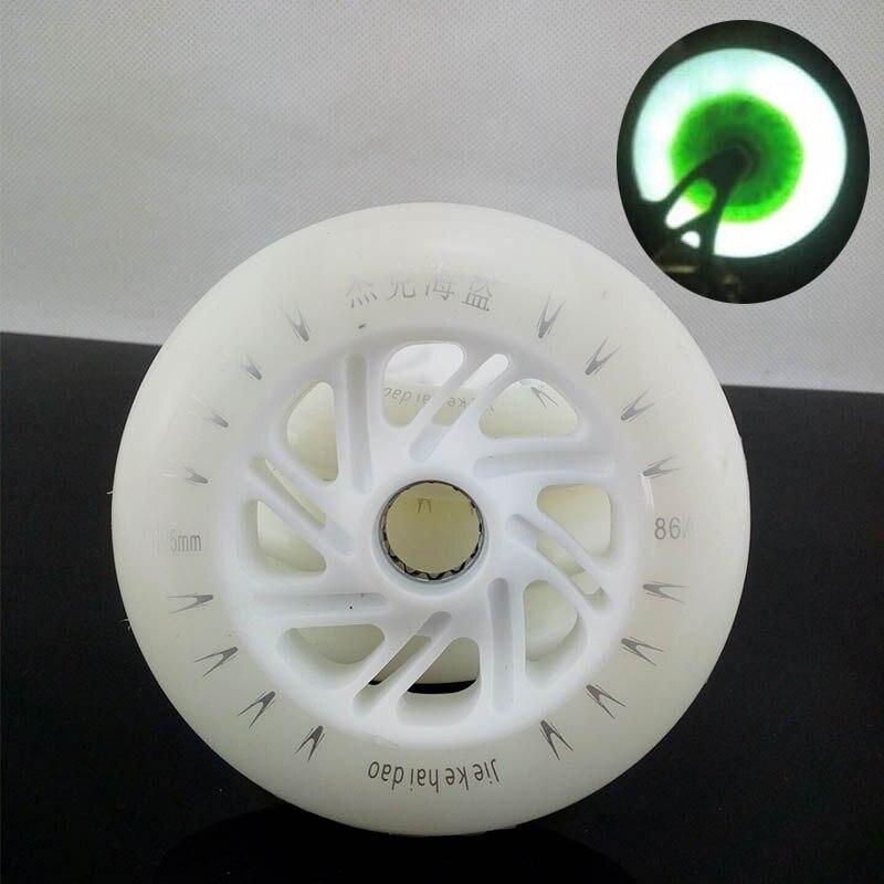 Prix pour Jieke LED Flash Vitesse des Roues De Skate 6 Pcs/Lot 100% D'origine 86A 125mm Blanc Vitesse De Patinage Roues LED Lumière Livraison gratuite
