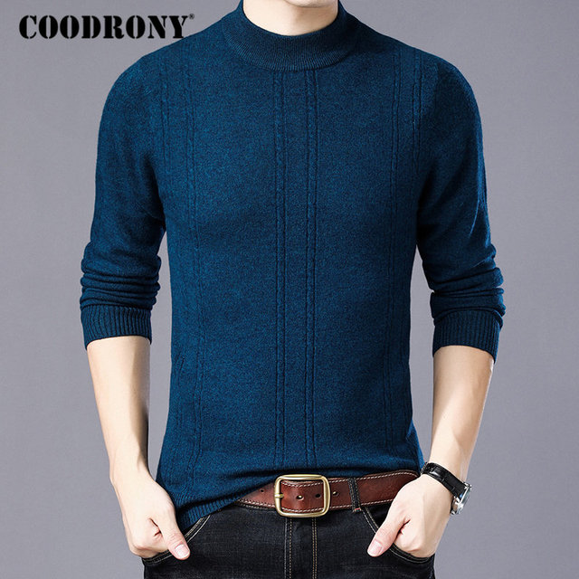 182be3da08 COODRONY Merino Wool Sweater Men Turtleneck Sweaters 2018 New Winter Thick  Warm Pull Homme Christmas Cashmere Pullover Men W010
