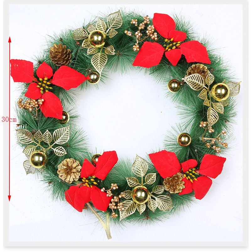 New Year For Christmas Christmas Decoration For Home Artificial Flowers  Rattan Fake Plants Christmas Door Wreath