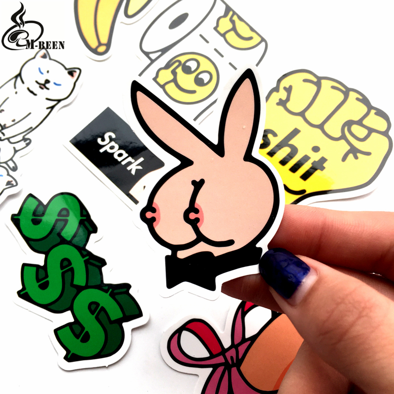 8Pcs/Lot Dirty Styling Bad Joke cat Waterproof Stickers For Car Laptop Skateboard Luggage PVC Decal Toy Home Doodle Sticker