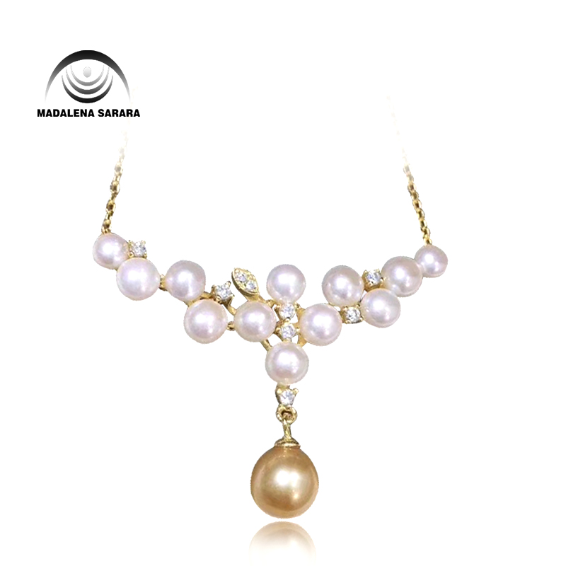 MADALENA SARARA AAA Southsea Saltwater Pearl Champagne Gold Pearl 8-8.5mm Pendant Necklace Luxury Elegant Lady Jewelry NecklaceMADALENA SARARA AAA Southsea Saltwater Pearl Champagne Gold Pearl 8-8.5mm Pendant Necklace Luxury Elegant Lady Jewelry Necklace