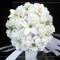 Белый Свадебный Букет Искусственный Розовыми Цветами, Свадебный Бросьте Букет, свадебные Букеты 30 цветов Свадебный Букет Цветком Руки FW160