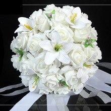 White Wedding Bouquet Artificial Rose Flowers,Bridal Throw Bouquet, Bridal Bouquets 30 flowers Wedding Bouquet Hand Flower FW160