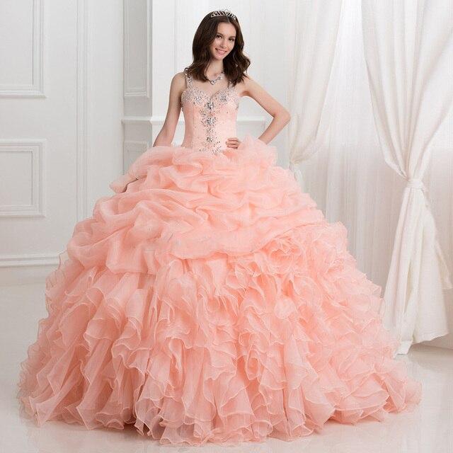 Vestido de bola Pink Quinceanera vestidos novia tanque cristales ...
