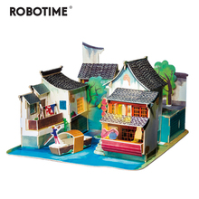 Robotime DIY South of China Doll House with Led Light Children Adult Miniature Wooden Model Building Dollhouse Toy SJ508