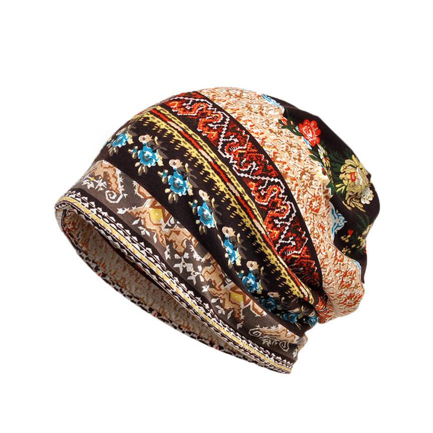 women hat cotton Unisex Print Hat Ruffle Cancer Hat Beanie Scarf Collar Turban Head Wrap Cap winter female hat Beanies caps A8