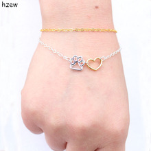 Double chain Paw bracelets vintage jewelry love Cats and Dogs Paws heart  bracelet