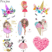 Prajna Heat Transfe Vinyl Lovely Heart Cartoon Patch Iron On Transfer For Kids Stickers Unicorn Girl Applique Badge Washable DIY