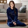 2016 Otoño Invierno 100% Algodón Conjunto de Ropa de Dormir Pijamas de Las Mujeres Pantalón Completo Señora Camisón Femenino Ropa de Hogar Mujer Pijama Sólidos