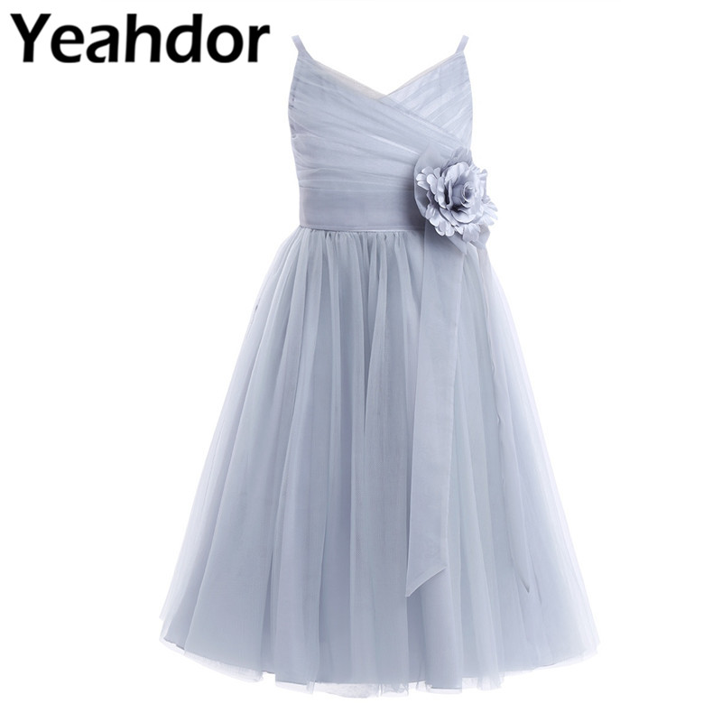 Kids Girls Pleated Tulle Mesh Spaghetti Shoulder Straps Flower Girl Dress With Mesh Bowknot Princess Pageant Wedding Party Dress