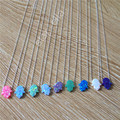 Synthetic Opal Pendant Necklace Many Colors Available 18inch 925 Sterling Silver Hand Opal Necklace Hamsa Opal Pendant Necklace