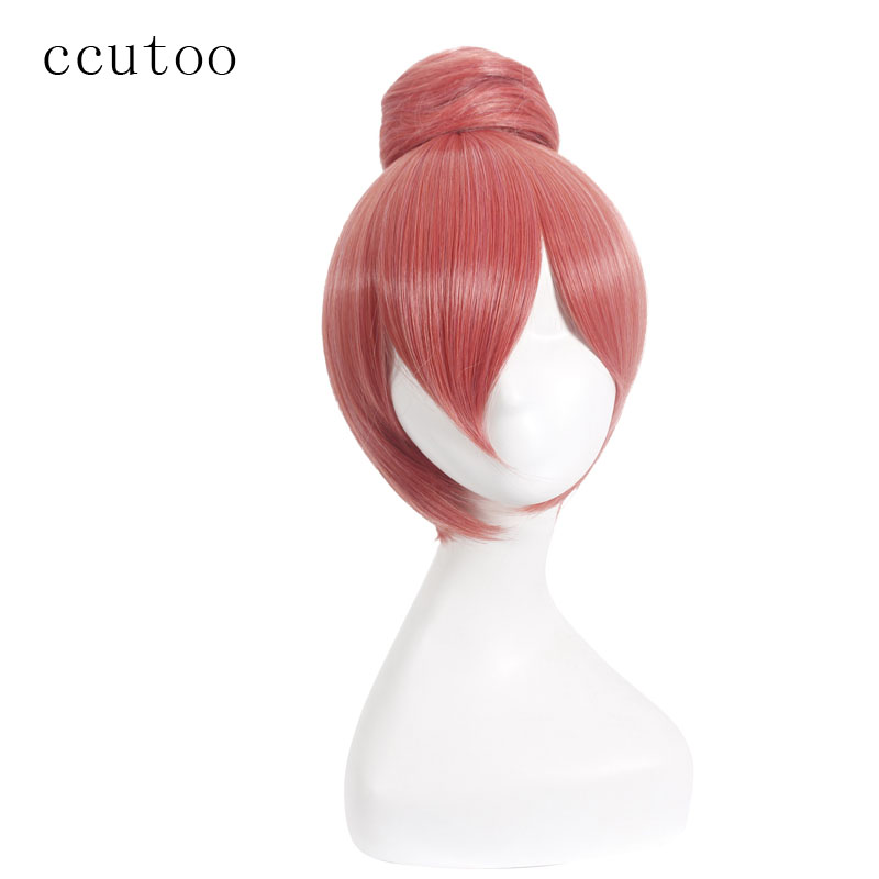 ccutoo 12 Orange Mix Short Straight Synthetic Hair Cosplay Full Wigs Perrque With a bun